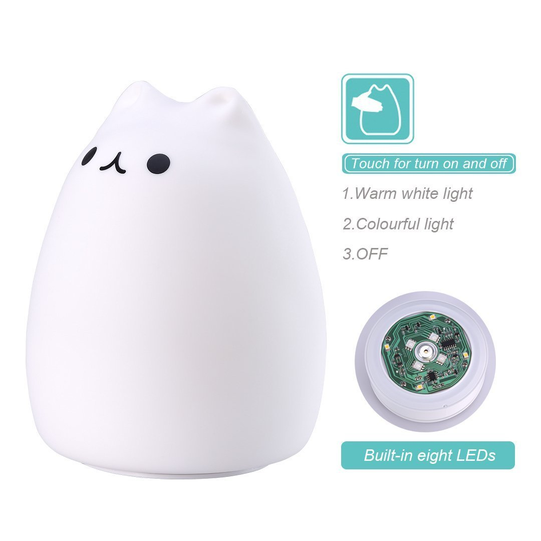 ProGreen Cute Night Light for Baby Kids Bedroom, LED Night Light, Bedsides Table Lamp, USB Charger, with 7 Modes of Lighting, Portable Silicone Cat Form for Bedroom, Living Room and Office