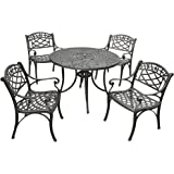 Crosley Furniture Sedona 5-Piece Solid-Cast Aluminum Outdoor Dining Set with 42-inch Table and 4 Arm Chairs - Black
