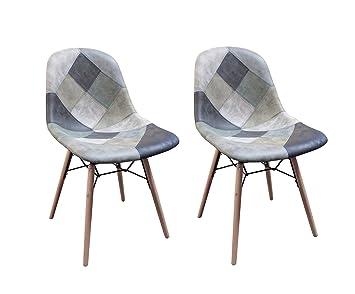 Meubletmoi sillas Patchwork Azul escandinava Vintage - Suave ...
