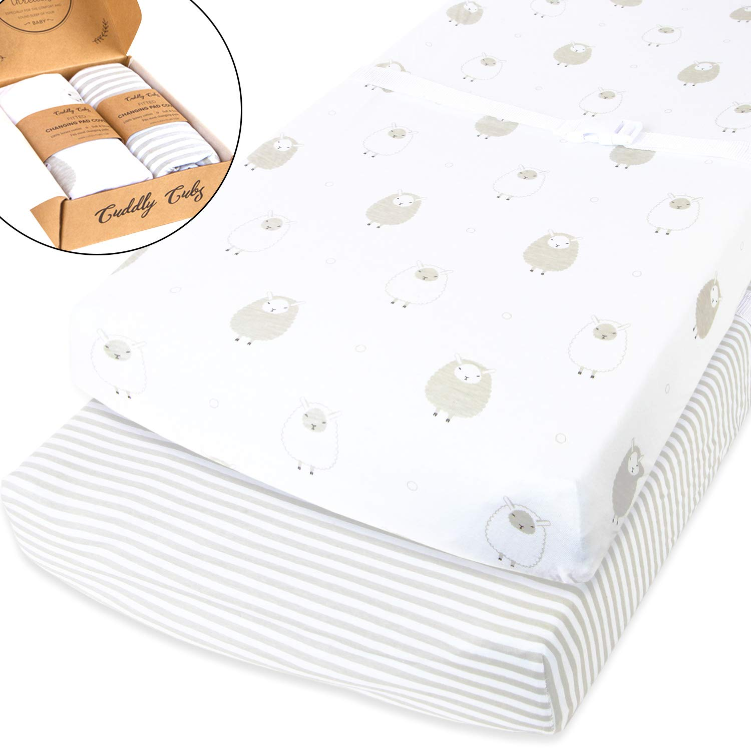 Cuddly Cubs Pack n Play Sheets | 2 Pack Playard Sheet For Baby Girl and Boy | 100% Jersey Cotton Unisex Mini Portable Crib Sheets | Sheep and Stripe in Grey | Best Baby Shower Gift | Fits Graco Orion Brands