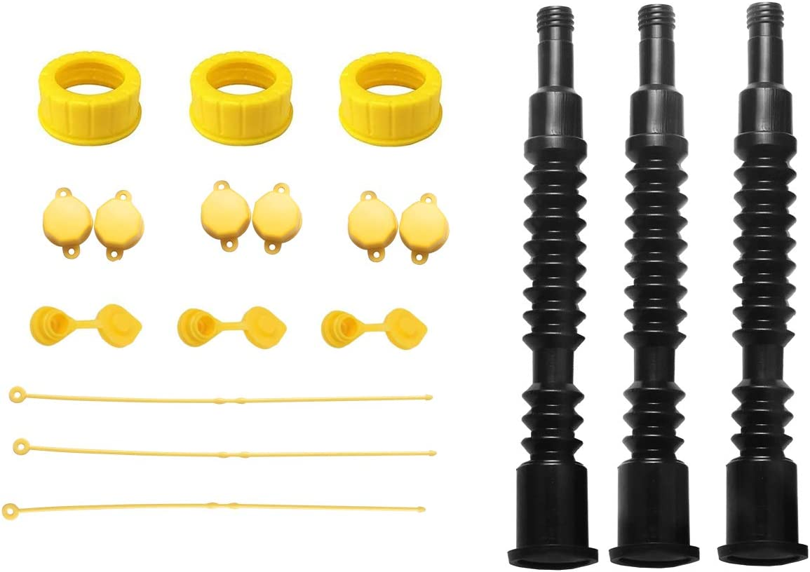 DEDC 3 Set Flexible Universal Gas Can Spouts Replacement and Vents Kit Ultra Long Fuel Tank Nozzle with Filter Screen 2 Collar Screw Cap for Pre 2009 Plastic Gas Can Kerosene Water Jug1 2 5 Gallon.