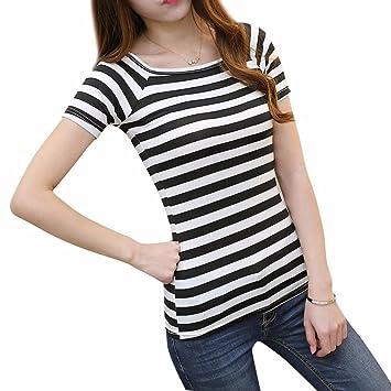 feixiang Mode Mujeres Mujer el cuello manga corta rayas T – Camiseta Blusa., negro