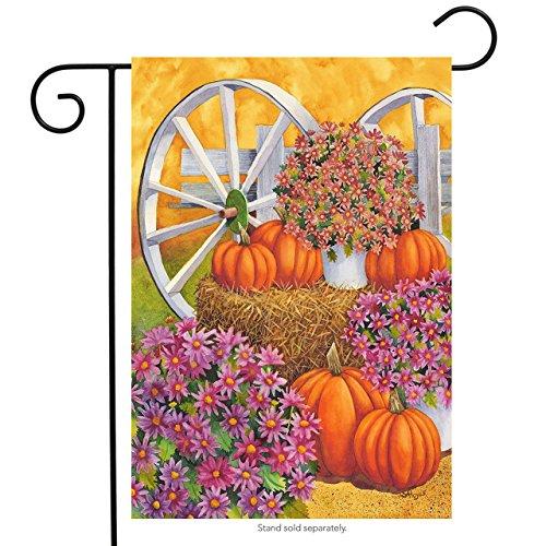 (Briarwood Lane Fall Wagon Floral Garden Flag Mums Pumpkins 12.5