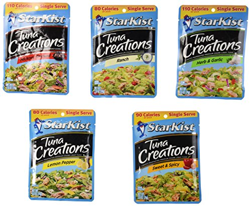 - Starkist Tuna Creations Variety Bundle, Single Serve 2.6-Ounce Pouch (Pack of 5) includes 1-Pouch Sweet & Spicy + 1-Pouch Hickory Smoked + 1-Pouch Herb & Garlic + 1-Pouch Ranch + 1-Pouch Lemon Pepper