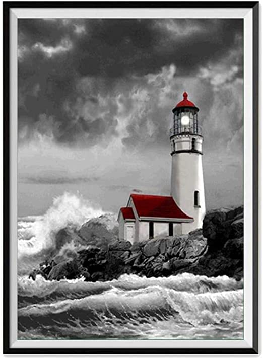 Home Decor Clearance DIY Embroidery Cross Stitch Kit Crystals Pictures DIY 5D Diamond Painting Kit Canvas Wall Art Decor 5D Diamond Painting Kits Adults Lighthouse A