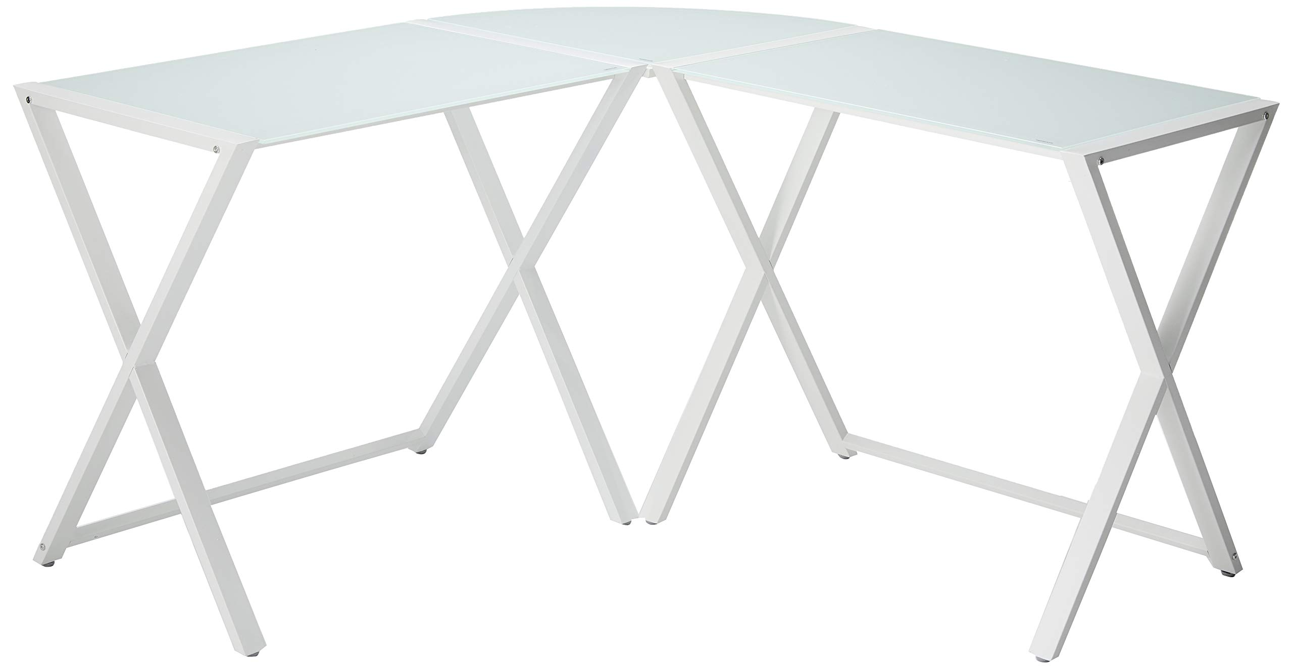"Walker Edison Modern Corner L Shaped Glass Computer Writing Gaming Gamer Command Center Workstation Desk Home Office, Single, White - Dimensions: 29"" H x 51"" L x 20"" W Accommodates multiple monitors Sleek tempered glass and metal design - writing-desks, living-room-furniture, living-room - 61VCQXTtElL -"