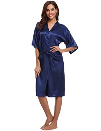 29d93fc0eb5534 Aibrou Damen Satin Morgenmantel Kimono Lang Bademantel Schlafanzug Negligee  Nachthemd Nachtwäsche Unterwäsche V Ausschnitt Mit Gürtel