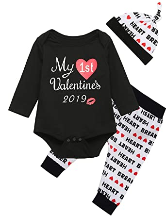 11781fe7 My First Valentine's Day Baby Boys Girls Outfit Set Romper Creepers Clothes  (0-3