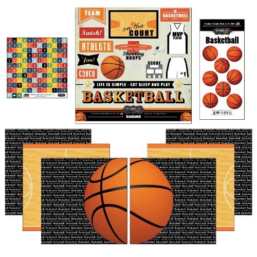 (Scrapbook Customs Go Big Basketball Themed Paper and Stickers Scrapbook Kit)
