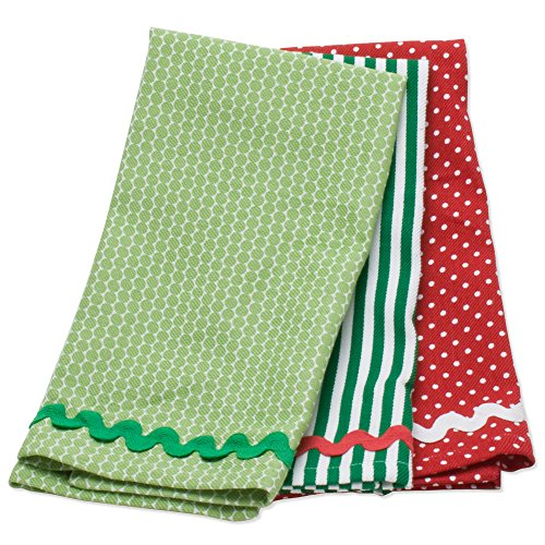 Ric Rac Dot - tag Christmas Dots & Stripes Ric Rac Dishtowel Set Of 3