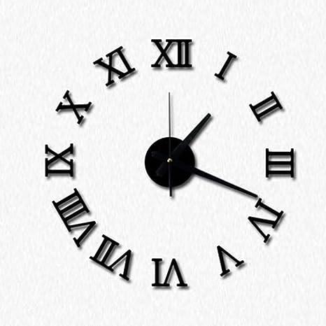 Topker DIY Acrílico reloj de pared de espejo 3D números romanos diseño y Decoración para el