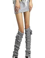 Women Leggings Boots Leg Warmer Knit Crochet Socks Cable Knit Long Boot Socks Legwear Pompom Leg Warmer Stocking