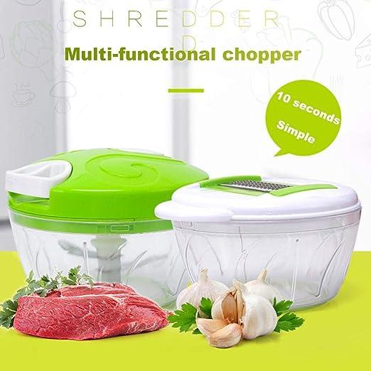 Triturador manual para alimentos de cocina multifuncional, triturador para robot de cocina manual, mezclador, prensa de ajo, mezclador de verduras a mano para picar frutas, verduras y frutas nueces.: Amazon.es