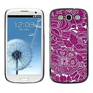 QCASE / Samsung Galaxy S3 I9300 / wallpaper flores arte floral púrpura / Delgado Negro Plástico caso cubierta Shell Armor Funda Case Cover