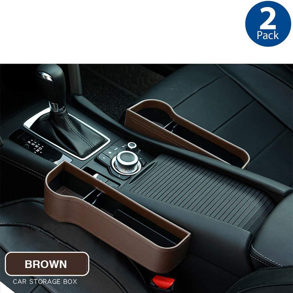 Cup Holder Car Seat Gap Storage Box Organizer Premium PU Leather Car Console Side Pockets 2PCS Multifunctional Car Seat Gap Filler