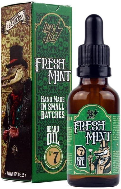 HEY JOE - Beard Oil Nº7 FRESH MINT 30ml | Aceite para barba 30ml con ARGAN, JOJOBA Y MACADAMIA. Aroma a MENTA Y PINO