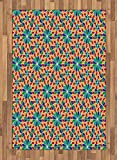 Arabian Area Rug by Lunarable, Islamic Mosaic Floral Patterns with Geometrical Shapes Old Ethnic Oriental Motifs, Flat Woven Accent Rug for Living Room Bedroom Dining Room, 4 x 6 FT, Multicolor