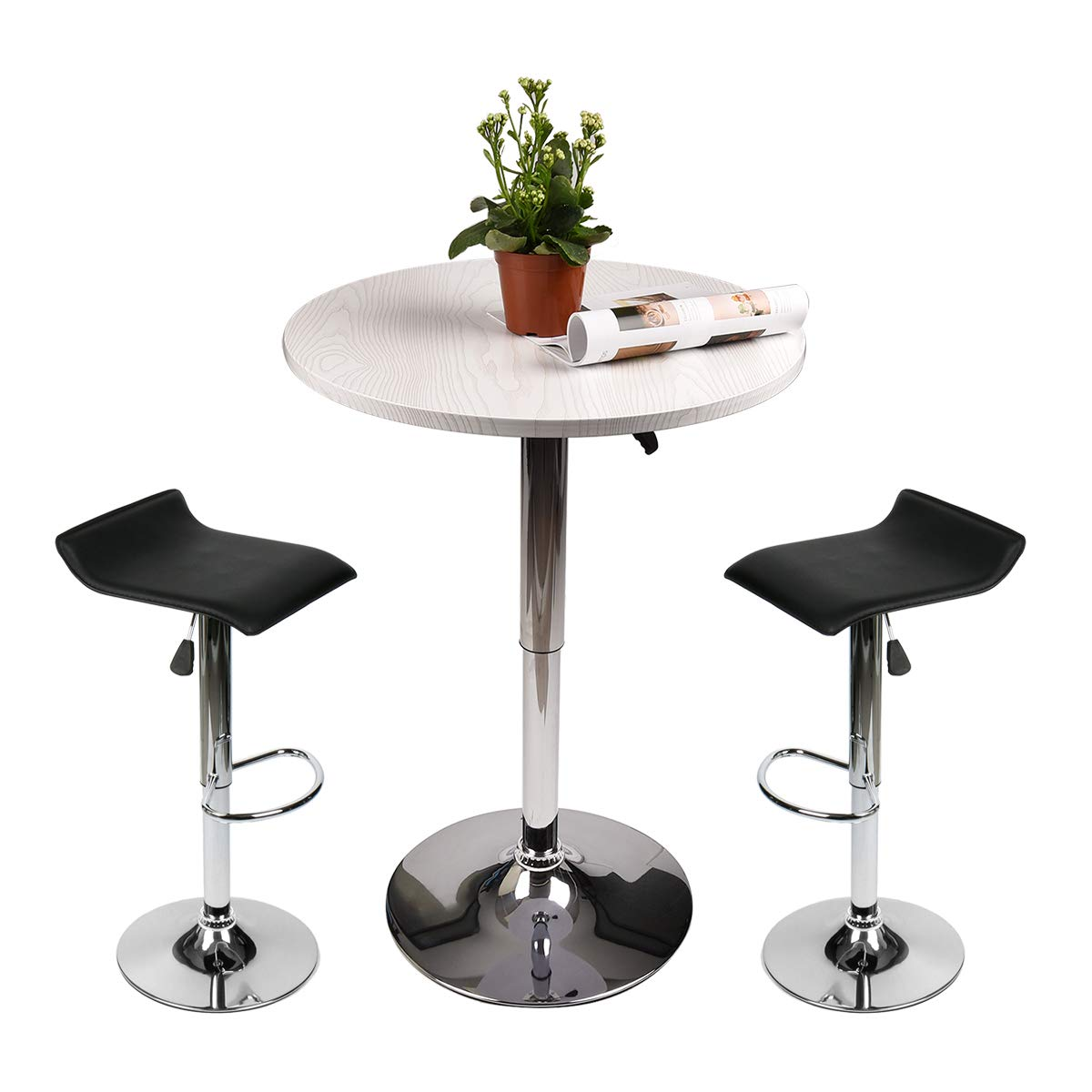 Adjustable Height Bar Table Set Round Bar Table and Chairs with Chrome Metal and Wood Cocktail Pub Table MDFTop 360°Swivel Furniture for Home Kitchen and Bistro