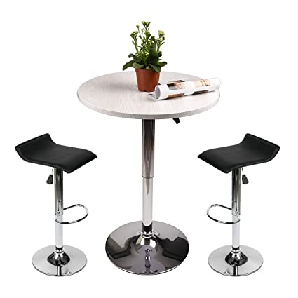 Amazon Com Adjustable Height Bar Table Set Round Bar Table And