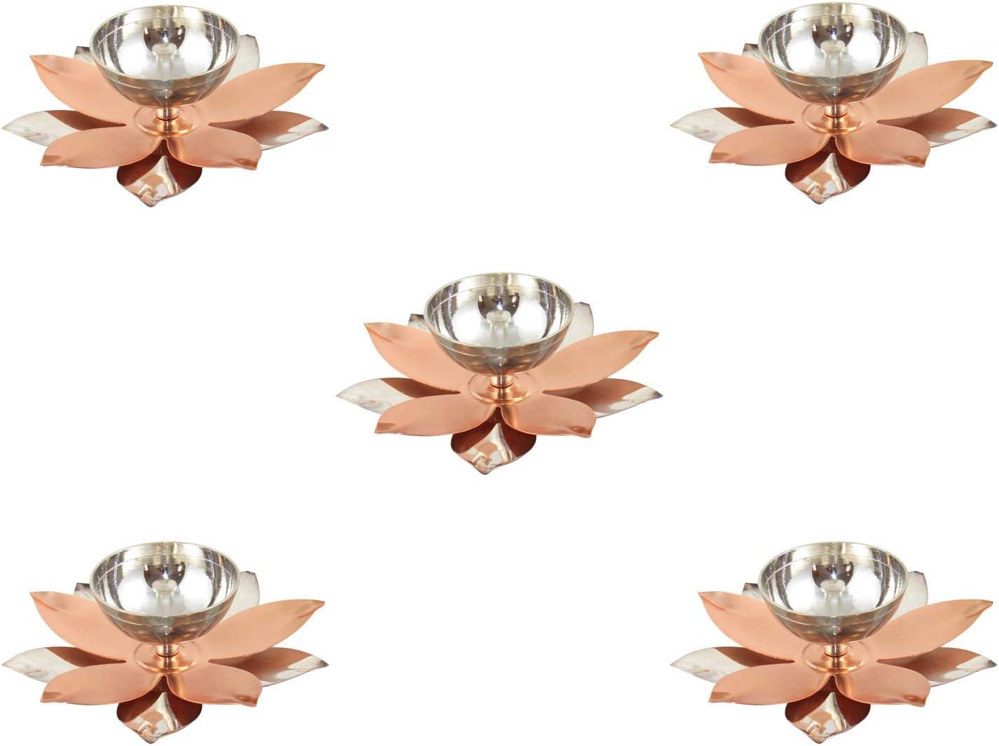 GoldGiftIdeas Copper Lotus Shape Diya for Pooja, Brass Pooja Articles for Gift, Return Gift for Housewarming, Hindu Religious Oil Lamp for Home Decor Pack of 5 18 cm