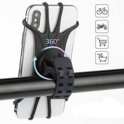 """Universal Bike Phone Mount,360°Rotation Silicone Bicycle Mobile Phone Holder, Motorcycle Handlebar Mount Fits for iPhone 11 Pro Max/XR/XS Max/8/7/ 6/6s Plus, Galaxy S9/S9 Plus, 4.0""""-6.5"""" Phones (2pcs)"""