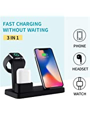 3 In1 Wireless Charger Station for Apple Watch Airpods and Smartphone, Teepao Aluminum Qi Fast Charger Dock with USB Output,Compatible with iPhone Xs MAX XR X, Samsung S9 S8