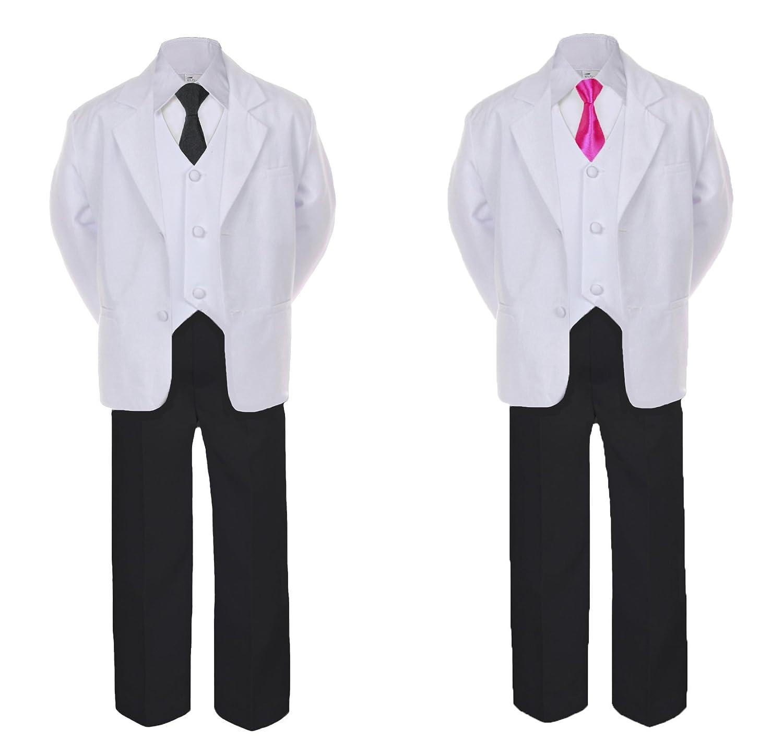 6pc Boy Formal Necktie Black /& White Suit Set Satin Necktie Baby Sm-20 Teen