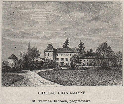 SAINT-ÉMILIONNAIS. SAINT-ÉMILION. Chateau Grand-Mayne. Bordeaux. SMALL - 1908 - old print - antique print - vintage print - Gironde art prints (Saint Emilion Grand)
