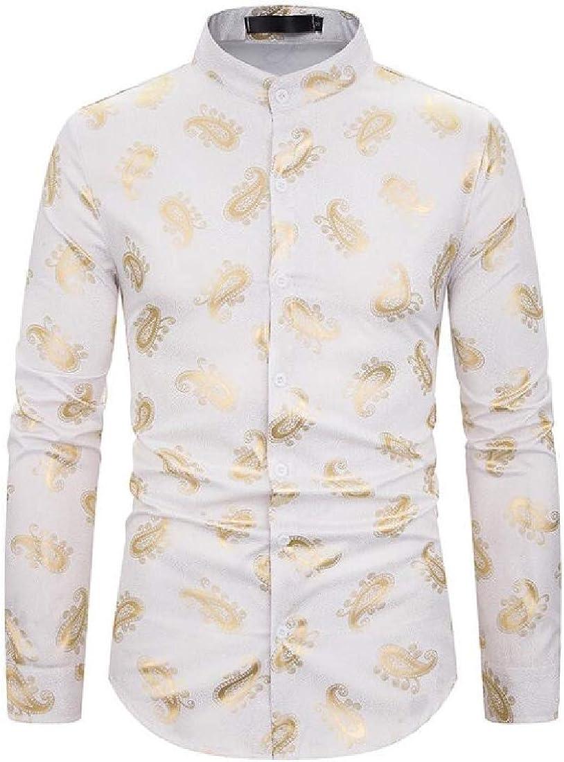 Fensajomon Mens Stylish Stand Collar Print Long Sleeve Buttons Club Dress Shirts