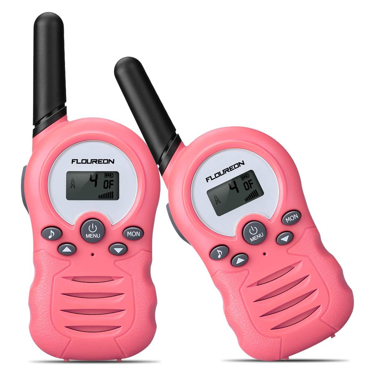 floureon Kids Walkie Talkies Two Way Radios 22 Channel 3000M (MAX 5000M Open Field) UHF Long Range Handheld Talkies Talky (Pink 2) by floureon (Image #1)