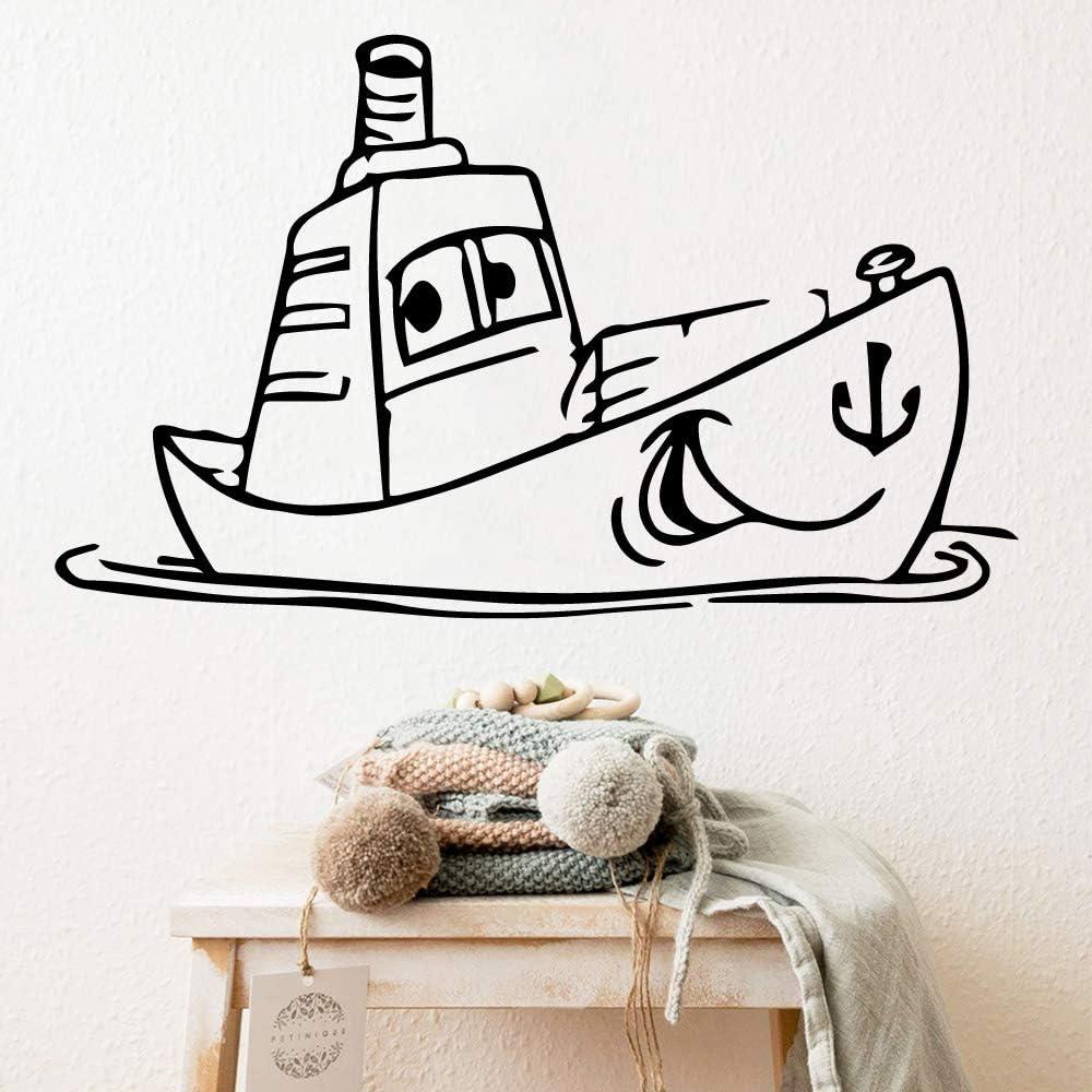 yiyiyaya Nave Caliente PVC calcomanías de Pared decoración para el hogar para niños Habitaciones decoración para el hogar Arte de la Pared Impermeable calcomanía de café L 43 cm X 71 cm
