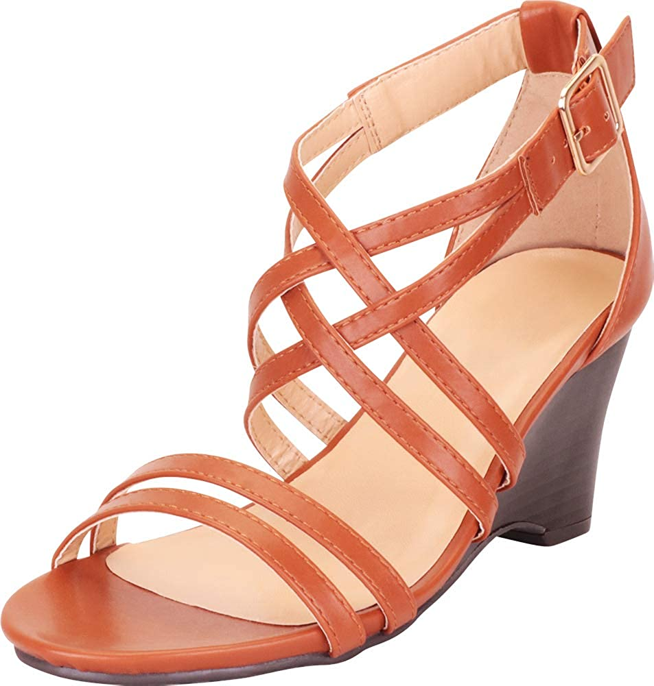 Brown Pu Cambridge Select Women's Open Toe Strappy Crisscross Lattice Wedge Sandal