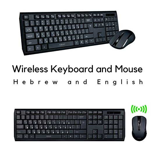 0a9667b367e Amazon.com: Wireless Keyboard and Mouse Combo Hebrew & English Alphabet  Built-in LCD Status Dashboard Sleek Design Seamless Typing: Computers &  Accessories