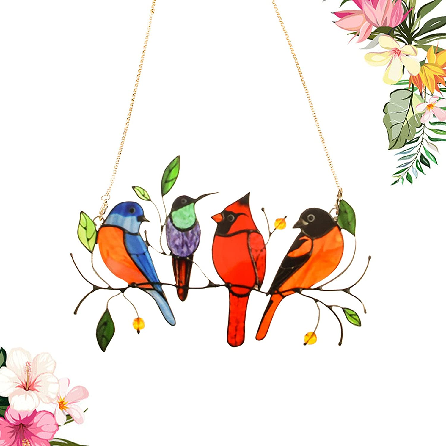 HUOQB Multicolor Birds on a Wire High Stained Glass Window Hangings, Bird Series Sculptures Pendant for Patio Yard Decor Creative Gifts, Home Decoration and Gifts for Bird Lover(4 Birds)