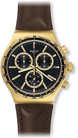 Yvg401 Homme Montre Cuir Bracelet En Digital Swatch Quartz Avec 4R5AjL