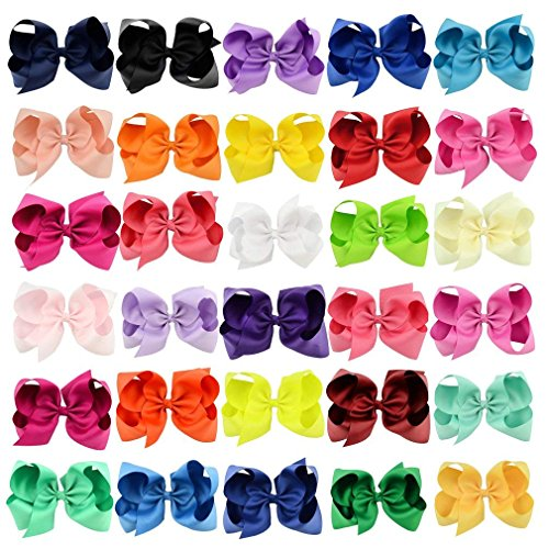 30 Pack Grosgrain Girls Hair Bows With Alligator Clips 6 Inch Boutique Big Rainbow Bows For Teens Kids Toddlers by Tobatoba (Image #9)