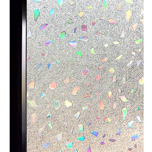 DUOFIRE 3D Window Film Color Gems Privacy Window Film Decorative Film Static Cling Glass Film No Glue Anti-UV Window Sticker Non Adhesive For Home Kitchen Office 35.4in. x 78.7in. DL005 (Edge Ruler Decorative)