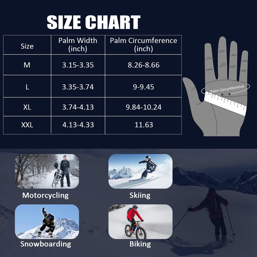 Goture Guantes Moto Invierno para Hombre Mujer Impermeables T/érmico Guantes de Moto Invierno con Proteccion Pantalla Tactil Dedo Completo para Invierno