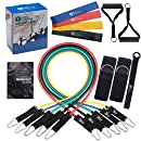 Resistance Bands Set 5 Stackable Exercise Bands 4 Resistance Loop Bands For Yoga, Fitness Attachment also contains Door Anchor Attachment, Legs Ankle Straps & Exercise Guide,For Indoor&Outdoor Workout