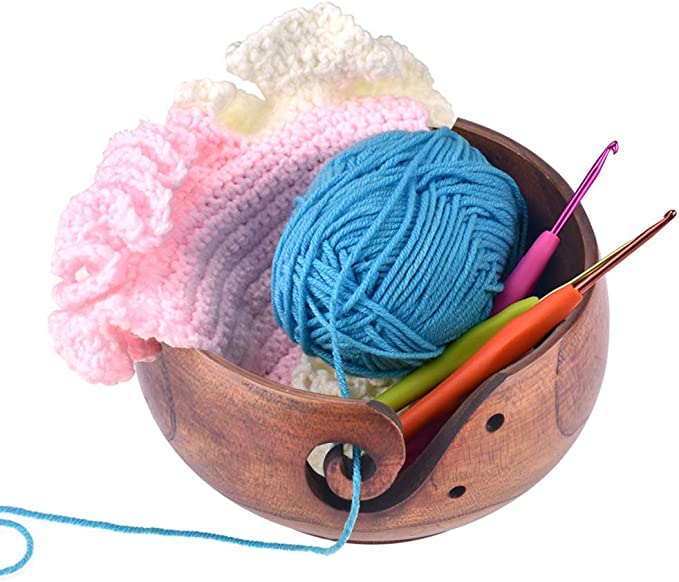 Perfect Yarn Holder for Knitting /& Crocheting Wooden Yarn Bowl Knitting Yarn Bowls with Holes Storage Handmade to Prevent Slipping 6 x 3