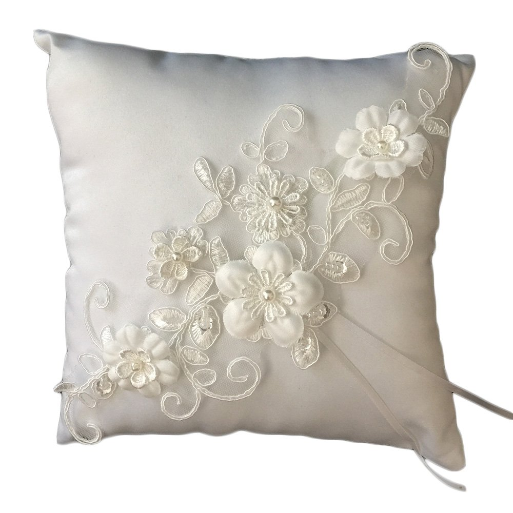 Lace Pearl Embroided Satin Flower Wedding Ring Bearer Pillow 7.8 Inch x 7.8 Inch (Ivory)