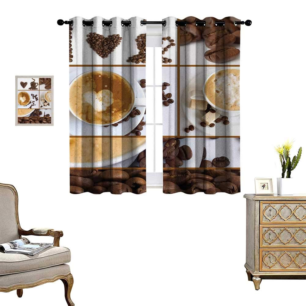 Anyangeight Kitchen Room Darkening Wide Curtains Coffee Themed Collage of Beans Mugs Hot Foamy Drink with a Heart Macro Aroma Photo Decor Curtains by W55 x L39 Brown White