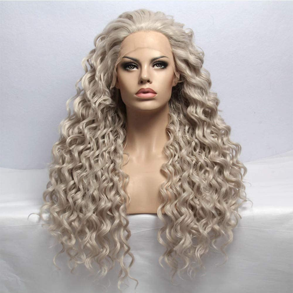 Amazon Com Mqss Platinum Blonde Lace Front Wig Fashion Long Curly Wavy Light Blonde Synthetic Hair Wigs For White Women Heat Resistant With Natural Hairline Home Kitchen