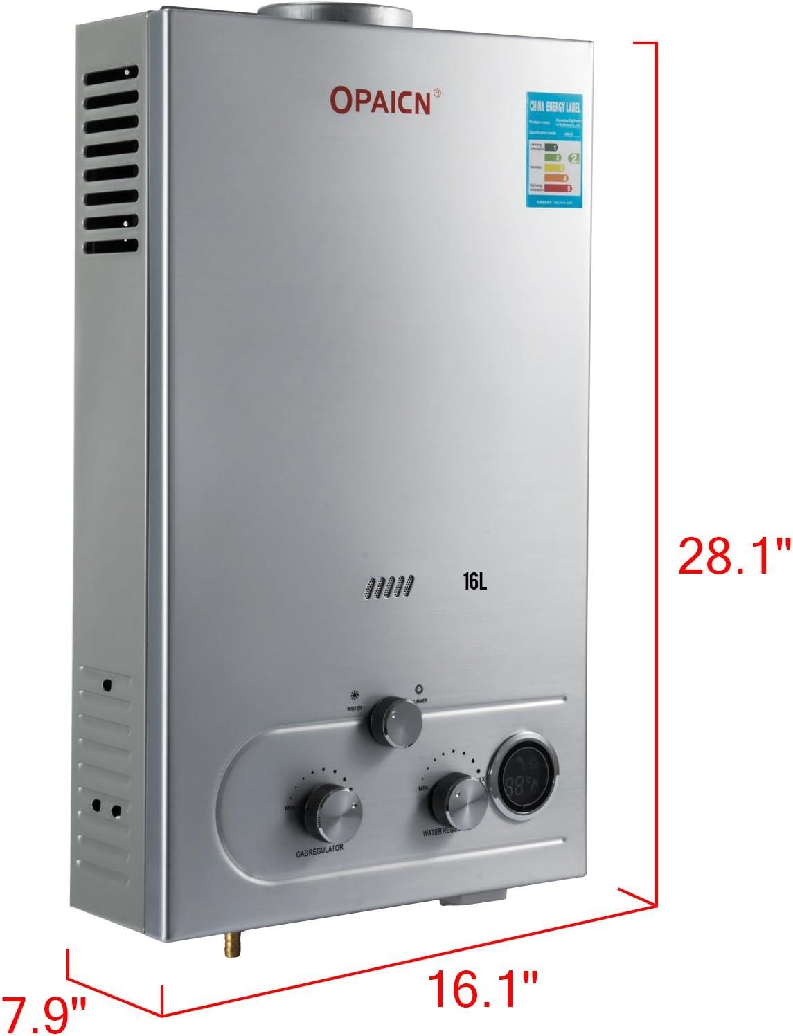 Chaneau Chauffe-eau Sans R/éservoir LPG Chauffe-eau Gaz Butane Chauffe-eau Instantan/é Avec L/écran LCD 16L LPG