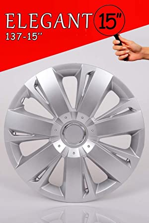 Promo Link - Juego de tapacubos para Coche (4 Unidades, 15 Pulgadas), Color Gris Plateado: Amazon.es: Coche y moto
