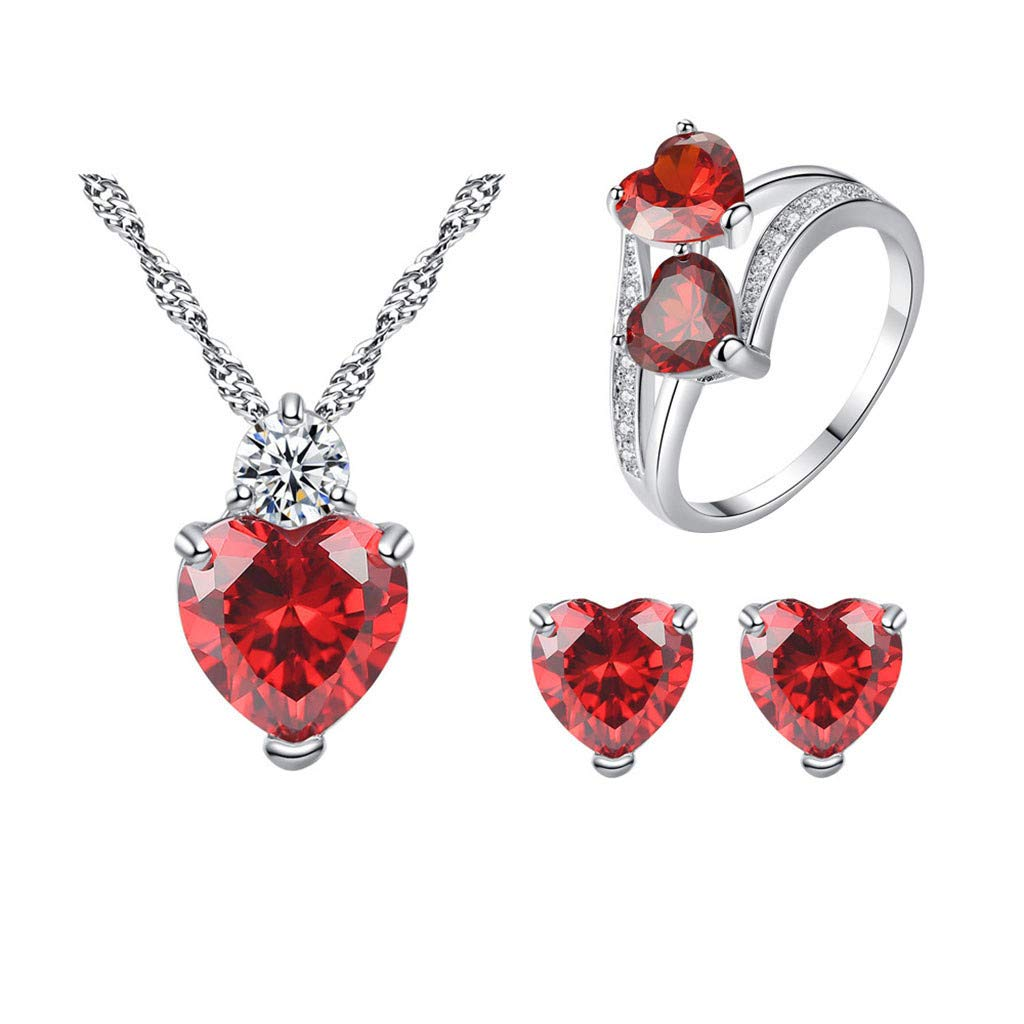 ChenGG Clearance!Women Pomegranate Red Zircon Ring Necklace Earrings Set Peach Heart Jewelry Under 5 Dollars