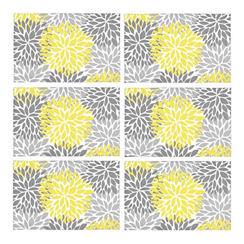 (InterestPrint Dahlia Pinnata Flower Yellow and Gradient Gray Washable Polyester Fabric Placemat Plate Mat Holder Set of 6, Heat Insulation Resistant Table Mats Protector 12