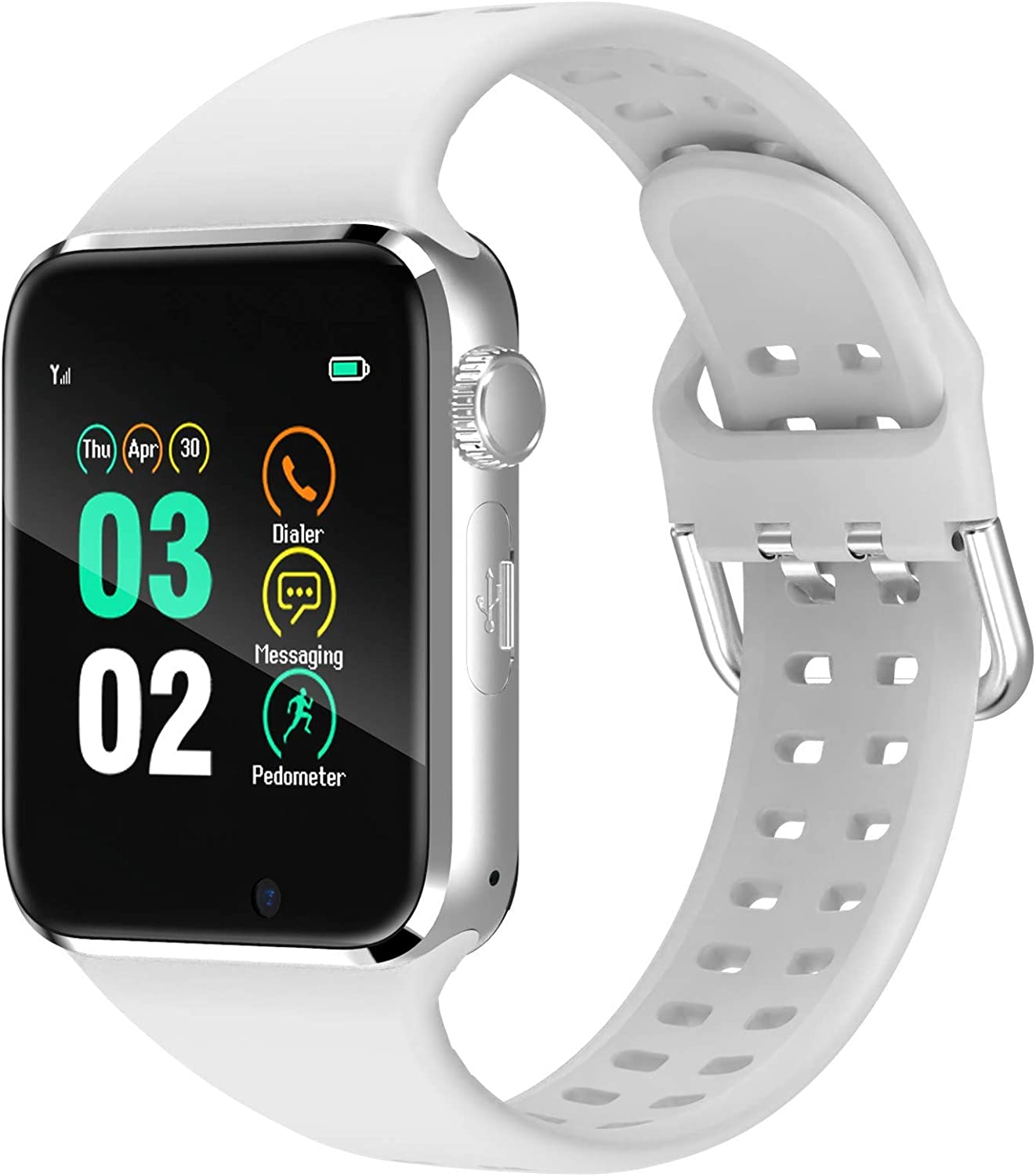 321OU Smart Watch for Android iOS Phones Compatible iPhone Samsung, Bluetooth Smartwatch Fitness Tracker Watch with SIM/SD Card Slot Camera Pedometer for Men Women (White)