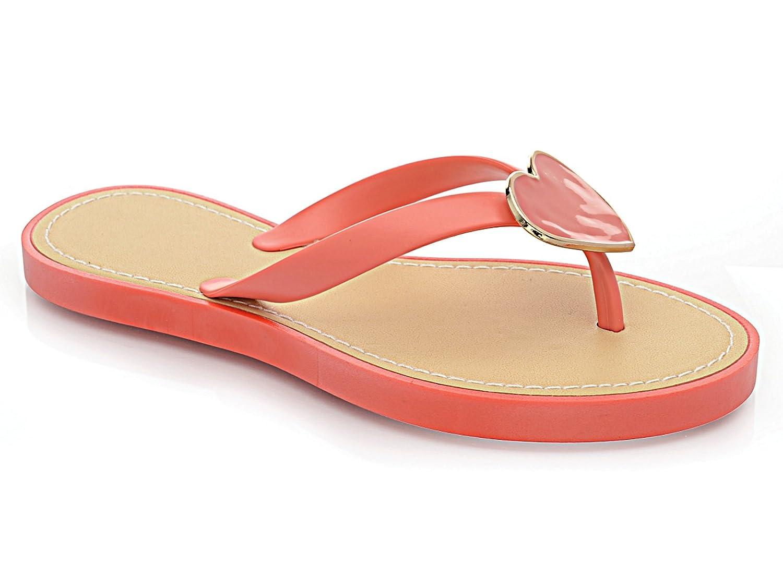 3c24fff4d3dd1 Ladies Girl Jelly LP3836 Heart Flat Flip Flop Toe Post Summer Beach Holiday  Sandal Shoe Size 3-8 (UK 6