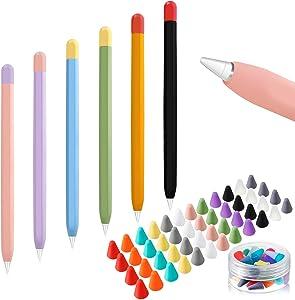 6 Pieces Silicone Case Cover for Apple Pencil 2nd Generaion, 6 Colors Thin Pencil Case Compatible with Apple Pencil 2nd Generation and 48 Pieces Silicone Nib Cover, 12 Colors